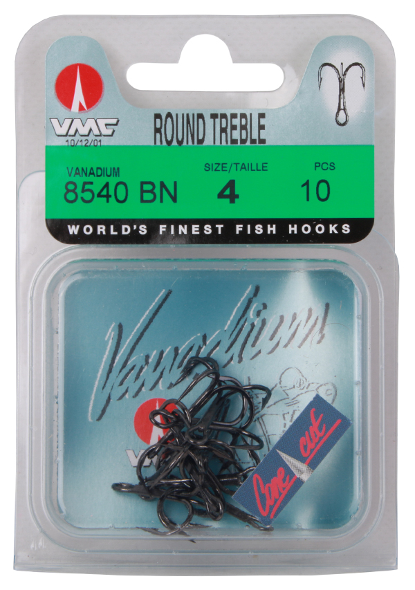 VMC 8540 Vanadium Round Treble dreggen, 10 stuks (keuze uit 2 opties) - Size 4
