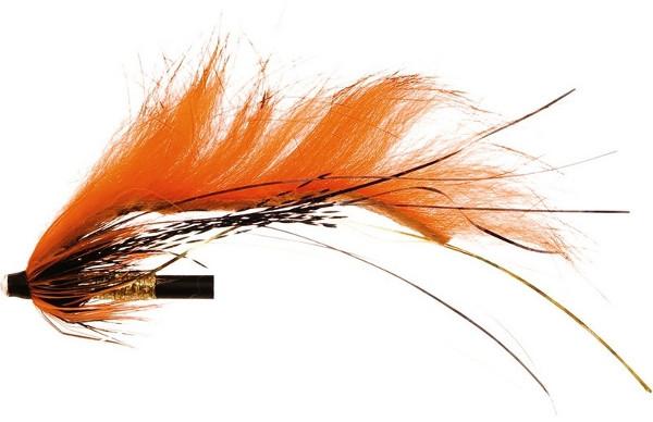 Unique Flies Jetstream Zonker, tubefly voor het vliegvissen op baars, roofblei en forel (keuze uit 6 opties) - Dirty Orange Tiger