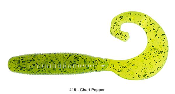 """Reins Fat G Tail Grub 4"""", 10 stuks (keuze uit 8 kleuren) - 419 Chart Pepper:"""