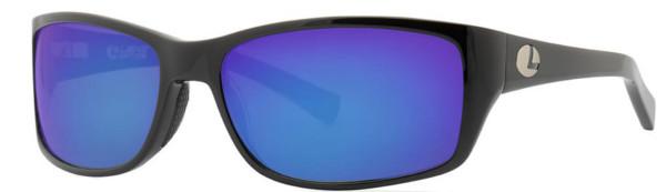 Lenz Optics Laxa Polarised Sunglasses (keuze uit 4 opties) - Black w/Blue Mirror Lens