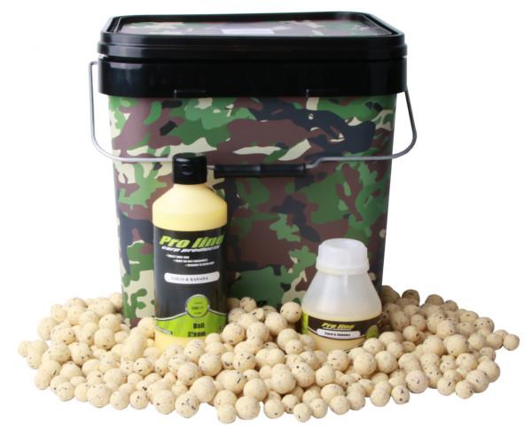 Pro Line Coco & Banana Deal met Boilies, Bait Steam, Boilie Dip en een Camo Bucket!