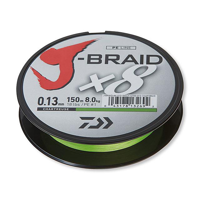 Daiwa J-Braid X8 gevlochten lijn (keuze uit 2 kleuren en meerdere diameters)