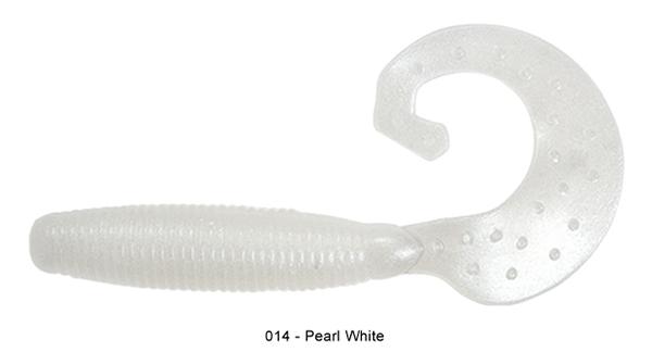 "Reins Fat G Tail Grub 4"", 10 stuks (keuze uit 8 kleuren) - 014 Pearl White:"