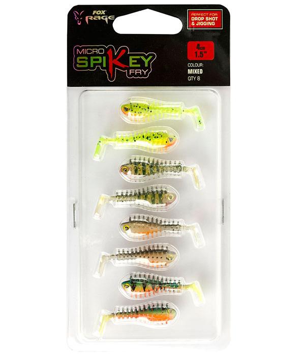 Fox Rage Micro Spikey Fry mixed colour, 8 stuks + Ultimate Swivels