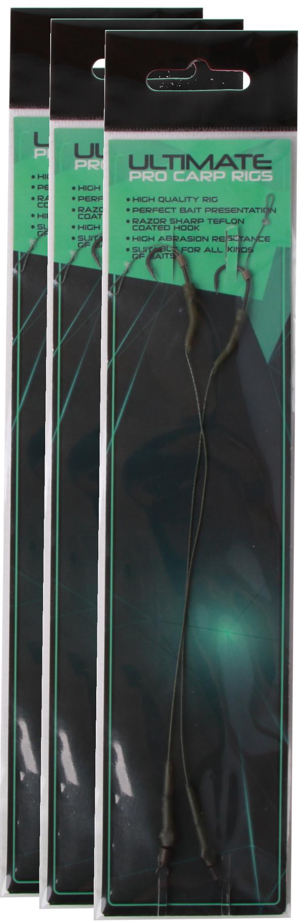 6 x Ultimate Pro Carp Rigs (keuze uit haakmaat 6, 8 en 10)