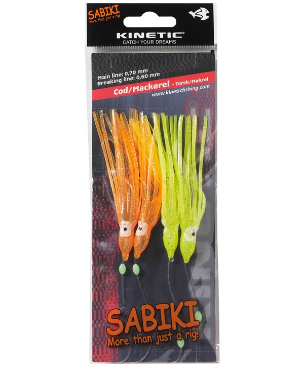 Kinetic Sabiki Cod/Mackerel #3, 4 stuks (keuze uit 2 opties) - Yellow Orange