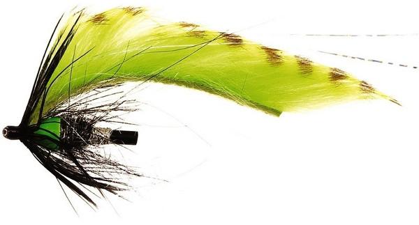 Unique Flies Jetstream Zonker, tubefly voor het vliegvissen op baars, roofblei en forel (keuze uit 6 opties) - Chartreuse Tiger