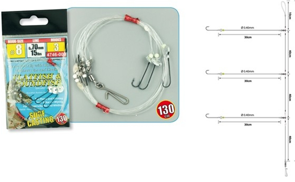 3 x Spro 3-Hooks Flatfish Flapping Rig #8