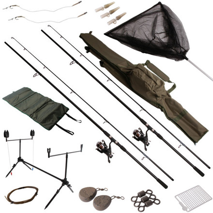 Ultimate Karper Set inclusief 2 hengels, vrijloopmolens en veel accessoires!