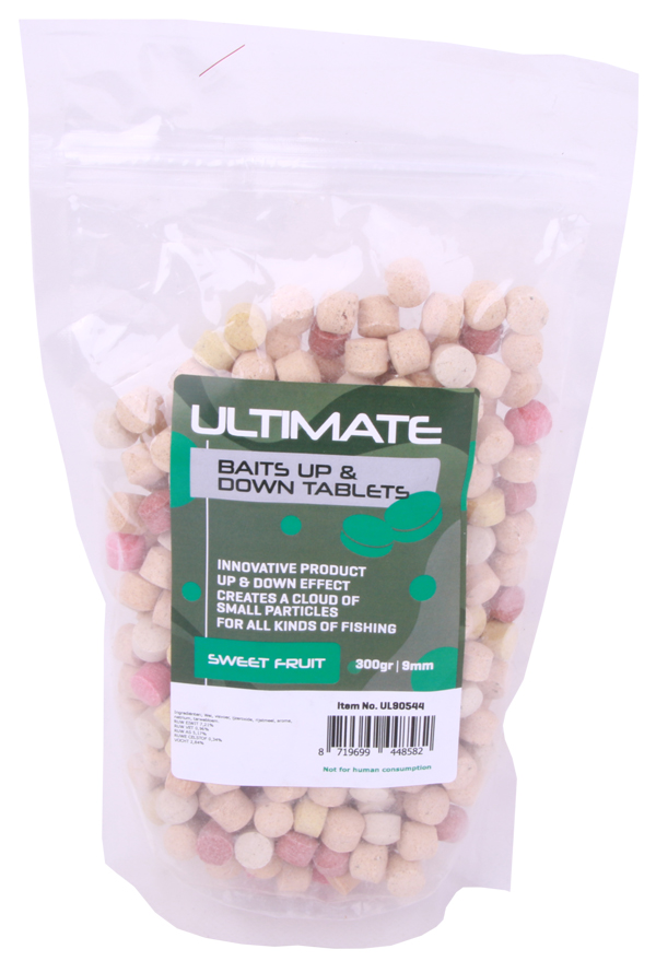 Ultimate Baits Up & Down Tablets 9mm, geven onder water geur-, kleur- én smaakstoffen af - Sweet Fruit 9mm