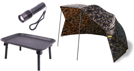 "Ultimate Camo Brolly 50"" + Bivvy Table + Zaklamp"