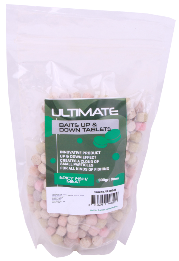 Ultimate Baits Up & Down Tablets 9mm, geven onder water geur-, kleur- én smaakstoffen af - Spicy Fish/Meat 9mm