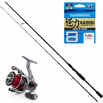 Shimano Yasei Dropshot & Light Jig Set met Stradic molen en Kairiki Braid