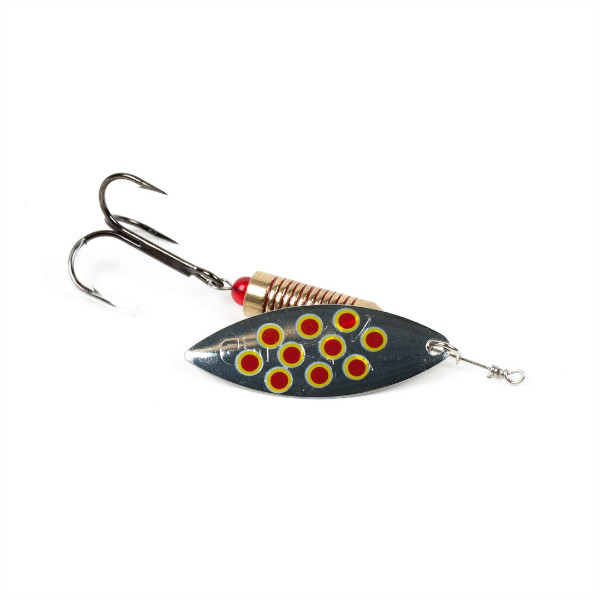 Fox Rage Blade Leaf Spinner (Keuze uit 10 opties) - Silver / Red dots