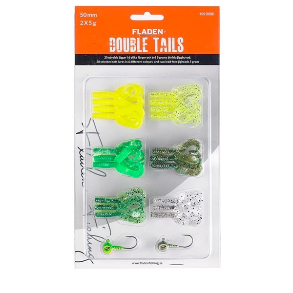 Fladen Soft Lure Assortment Double Tails - Assortment Green - 50 mm, 5 g