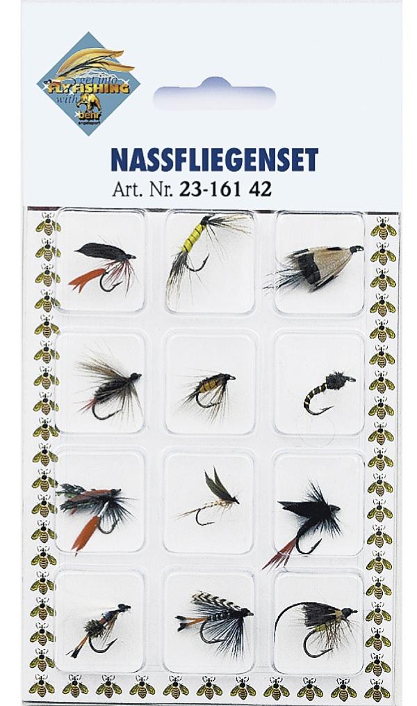 Behr Wet flies on card, 12 stuks!