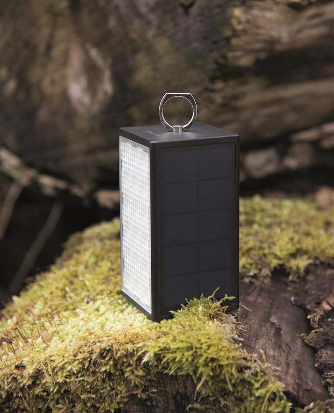 DÖRR Solar Powerbank with LED Light SL-10600 Black, oplaadbaar via USB of zonne-energie
